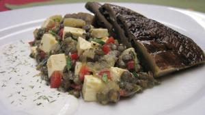Warm Lentil Salad with Grilled Portabella