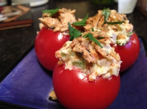 Stuffed Tomatoes with Cracker Topping